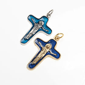 Pingente cruz metal 34 mm esmalte azul escuro Maria e Cristo s1