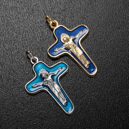 Pendant cross in metal and blue enamel, Mary and Christ 34mm 2