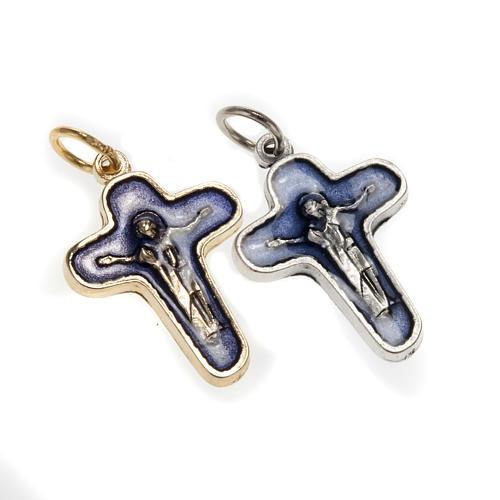 Pendentif croix métal 25 mm émail bleu Marie et Jésus 1