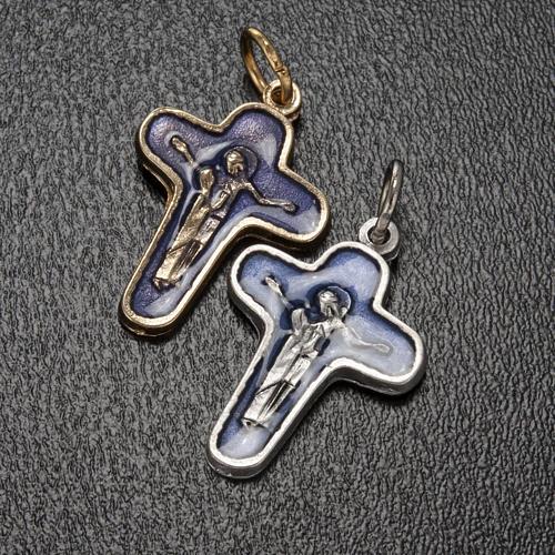 Pendentif croix métal 25 mm émail bleu Marie et Jésus 2