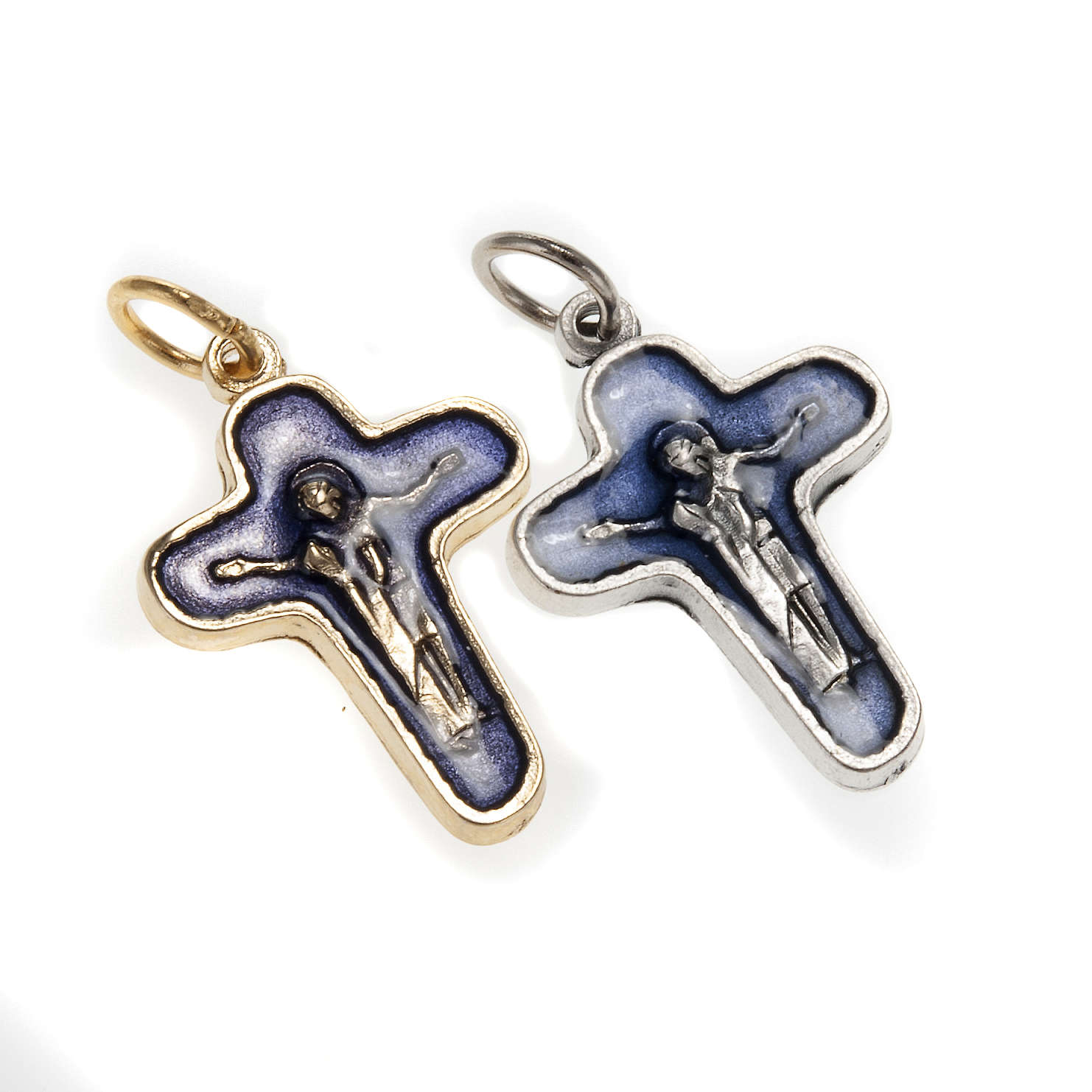 Pendant cross in metal and blue enamel, Mary and Christ 25mm 4