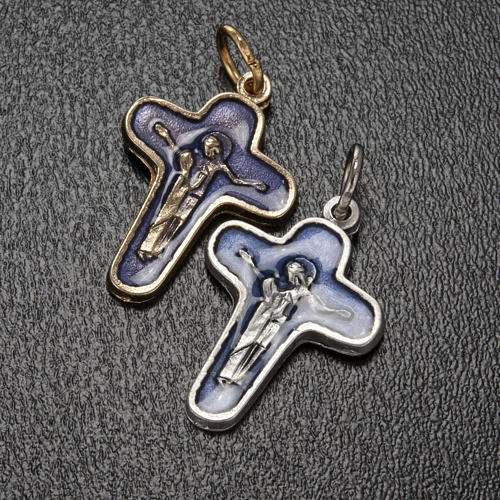 Pendant cross in metal and blue enamel, Mary and Christ 25mm 2
