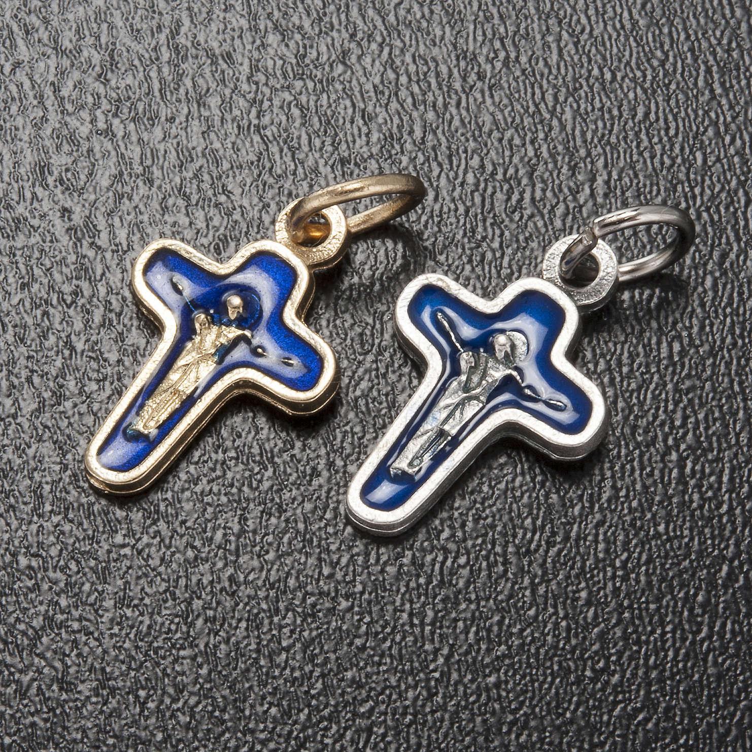 Ciondolo croce metallo 18 mm smalto blu Maria e Cristo 4