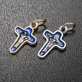 Ciondolo croce metallo 18 mm smalto blu Maria e Cristo s2
