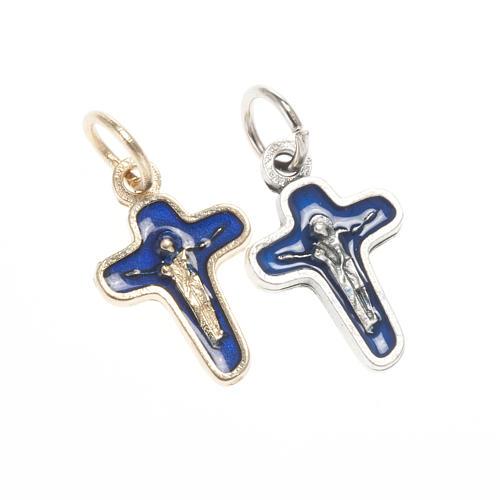 Ciondolo croce metallo 18 mm smalto blu Maria e Cristo 1