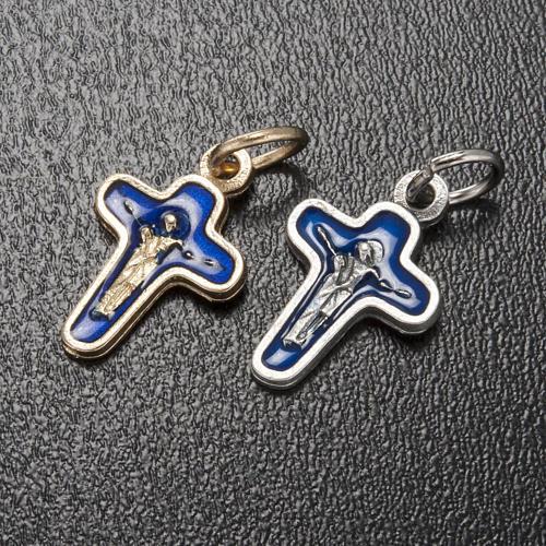 Ciondolo croce metallo 18 mm smalto blu Maria e Cristo 2