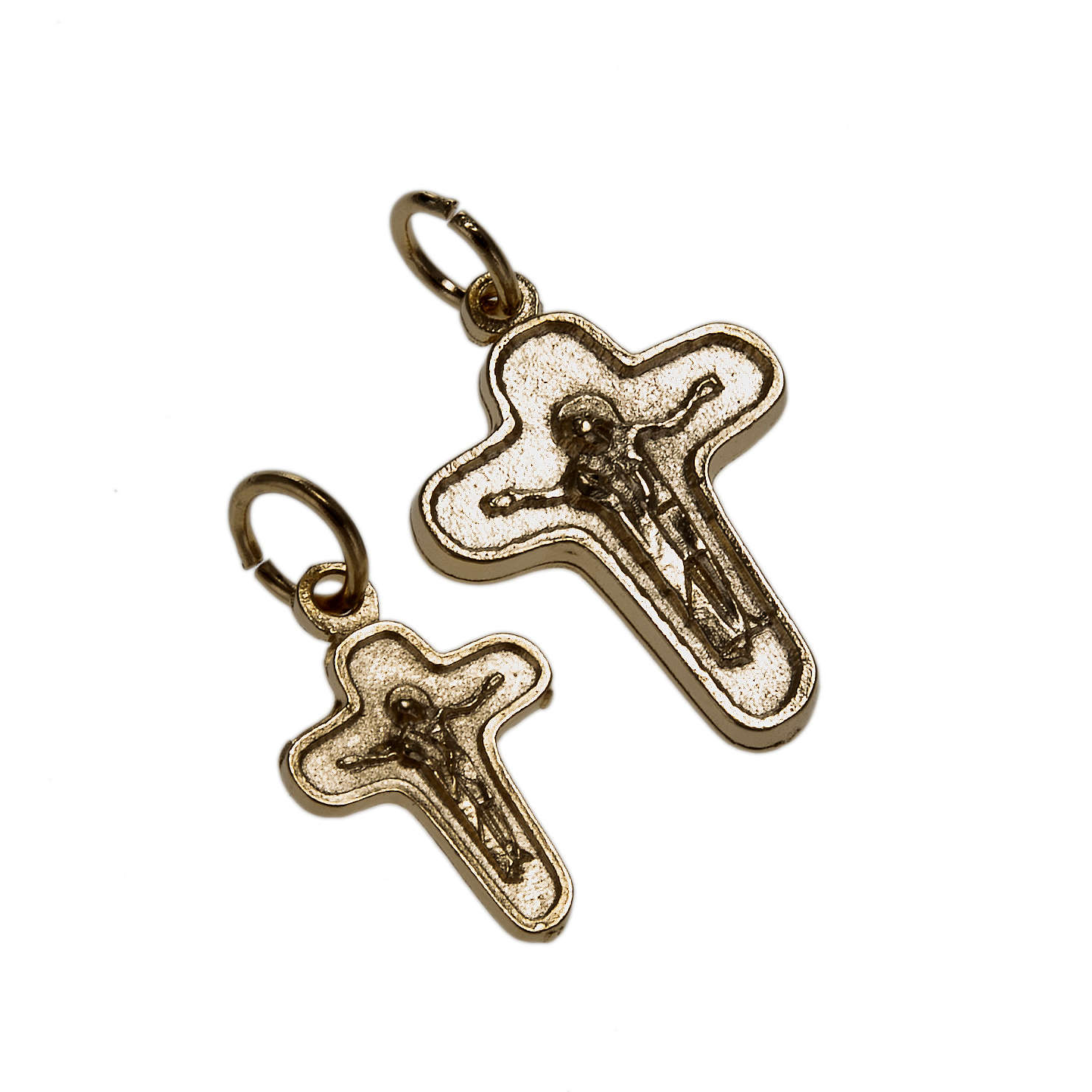 Pendant cross in golden metal, Mary and Christ 4