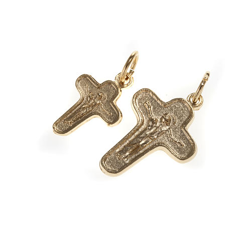 Pendant cross in golden metal, Mary and Christ 1