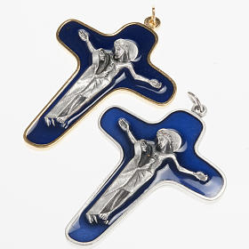 Pendant cross in metal blue enamel, Mary and Christ 86mm s1