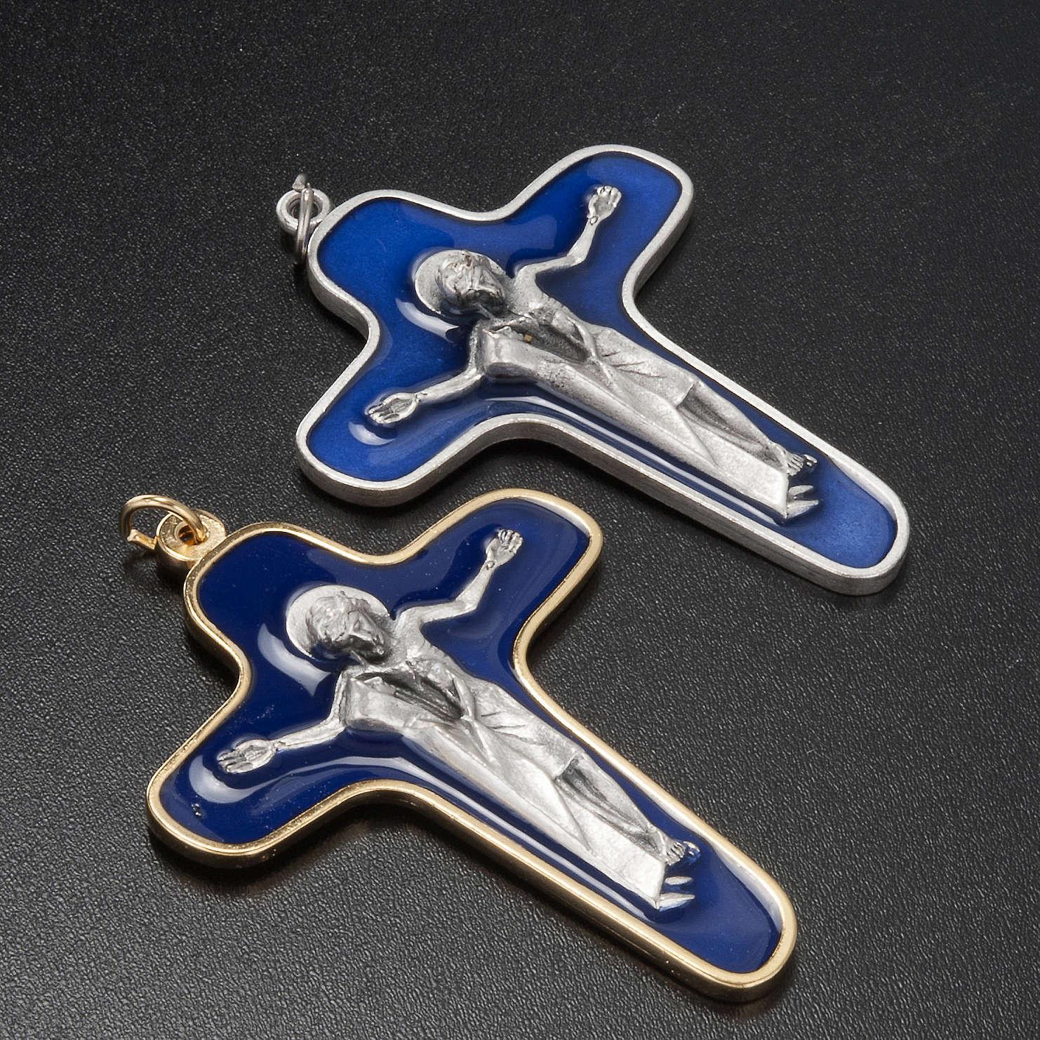 Crucifix métal vernis bleu, vierge et Christ 86 mm 4
