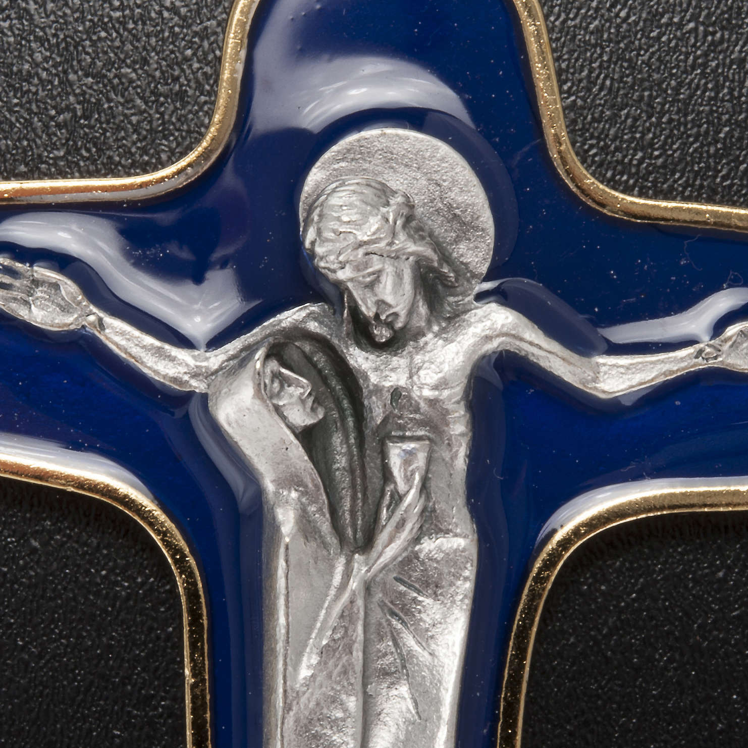 Pingente cruz metal esmalte azul escuro Maria e Cristo 86 mm 4