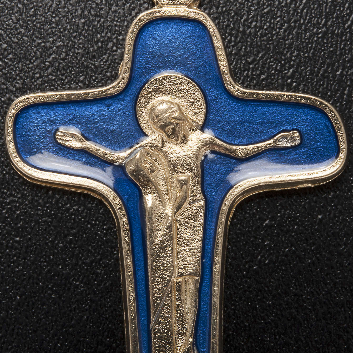 Ciondolo croce metallo smalto blu Maria e Cristo 47 mm 4