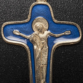 Pendant cross in metal blue enamel, Mary and Christ 47mm s3