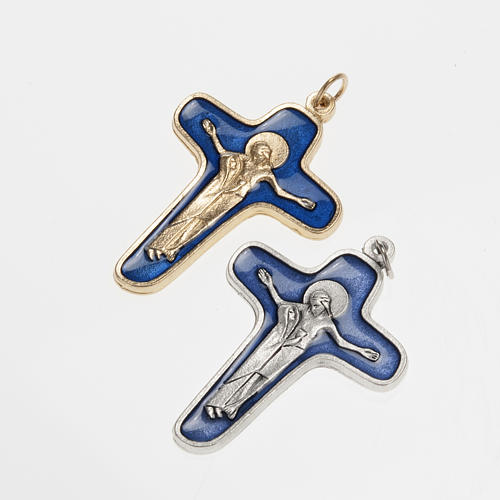 Pendant cross in metal blue enamel, Mary and Christ 47mm 1