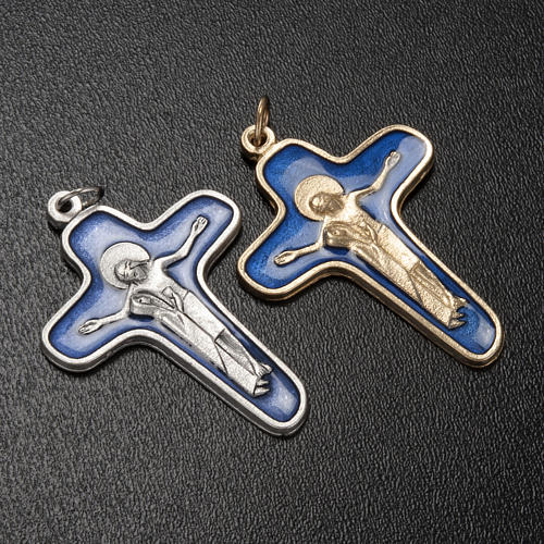 Pendant cross in metal blue enamel, Mary and Christ 47mm 2