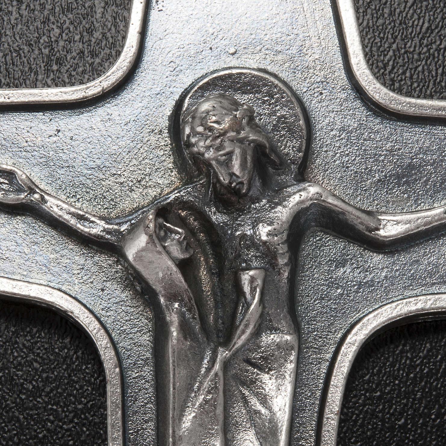 Pendentif Crucifix métal  vierge et Christ avec calice 4