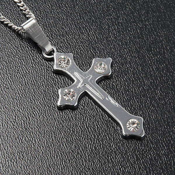 Cross pendant, trefoil in metal with rhinestones and chain 4