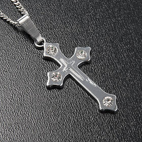 Cross pendant, trefoil in metal with rhinestones and chain s2