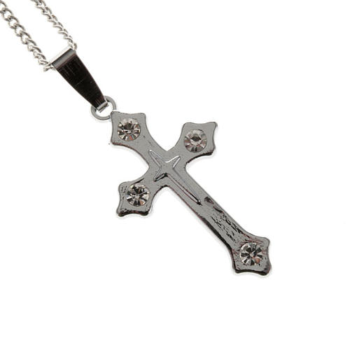 Cross pendant, trefoil in metal with rhinestones and chain 1