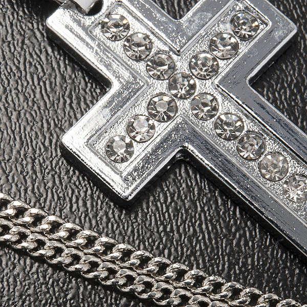 Croix classique pendentif métal strass et chaîne 4