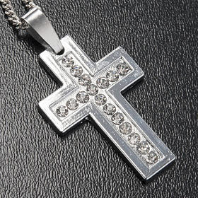 Croix classique pendentif métal strass et chaîne s2
