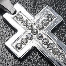 Croix classique pendentif métal strass et chaîne s3