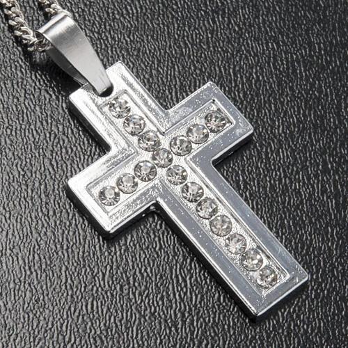 Croix classique pendentif métal strass et chaîne 2