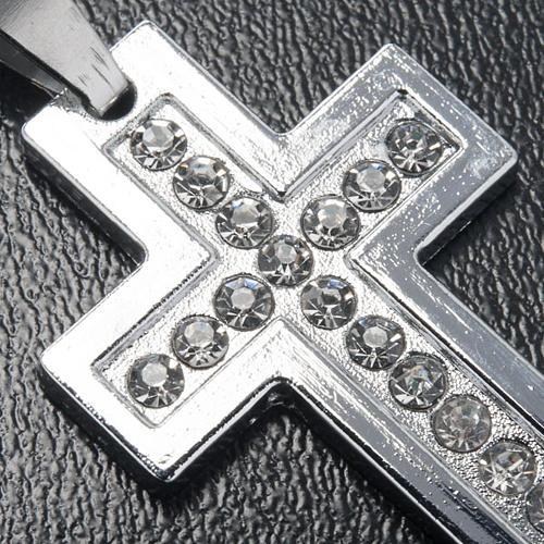 Croix classique pendentif métal strass et chaîne 3