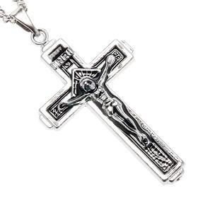 Croce pendente acciaio con catenella s1
