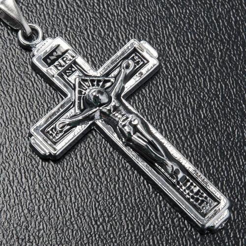 Croce pendente acciaio con catenella 2