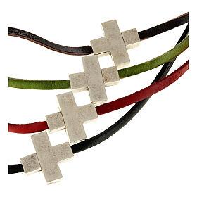 Cruces Colgantes Collares de metal: Collar cruz metal piel Medjugorje