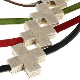 Collier croix métal cuir Medjugorje s2