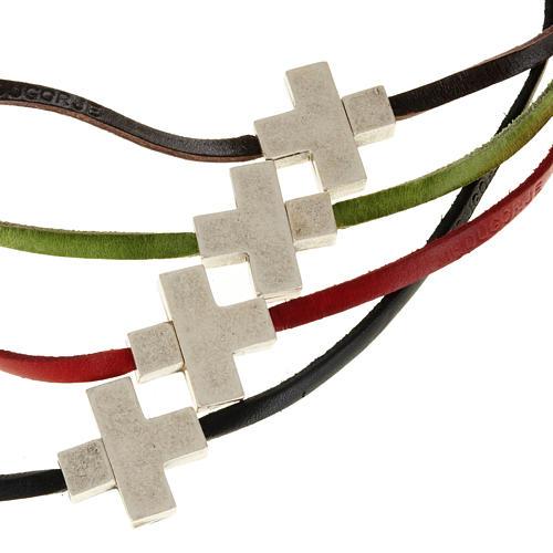 Collier croix métal cuir Medjugorje 1