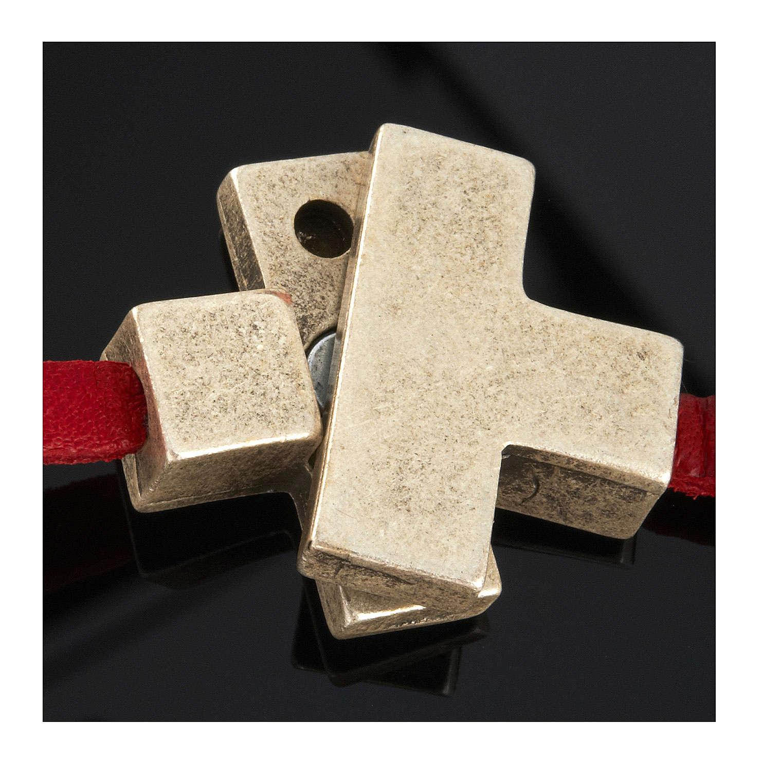 Collana croce metallo pelle Medjugorje 4
