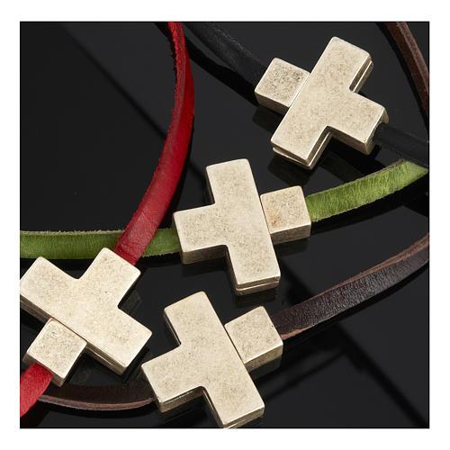 Collana croce metallo pelle Medjugorje 2