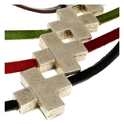 Collana croce metallo pelle Medjugorje 3