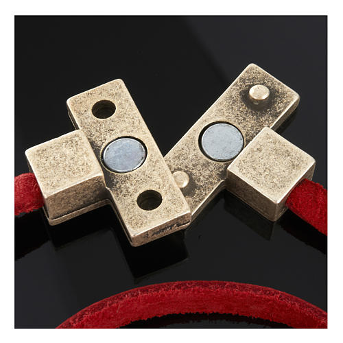 Collana croce metallo pelle Medjugorje 7