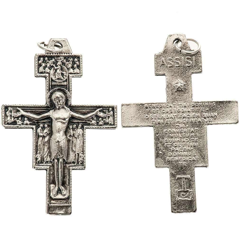 Saint Damien cross pendant, silver metal 4.2cm 4