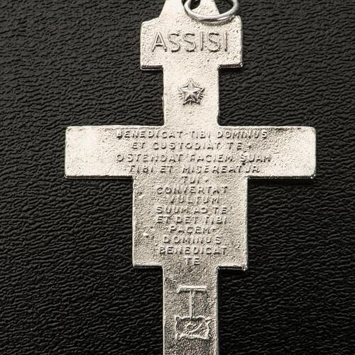 Pendiente cruz San Damiano metal plateado 4,2cm alto 3