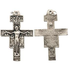 Pendentifs croix métal: Croix St Damien métal argenté 4.2 cm