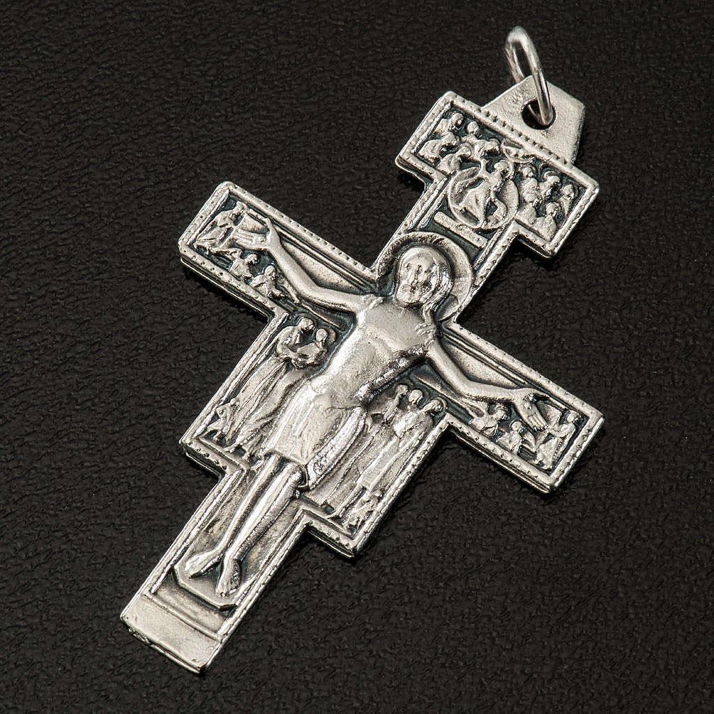 Pingente cruz São Damião metal prateado h 4,2 cm 4