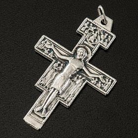 Pingente cruz São Damião metal prateado h 4,2 cm s2