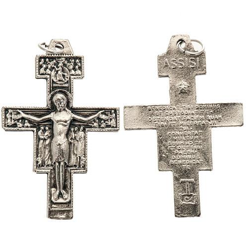 Pingente cruz São Damião metal prateado h 4,2 cm 1
