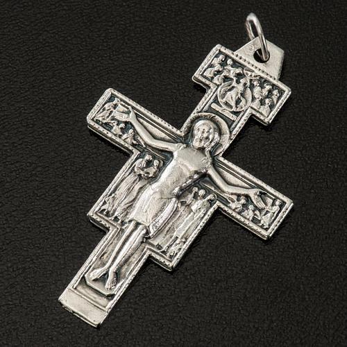 Pingente cruz São Damião metal prateado h 4,2 cm 2