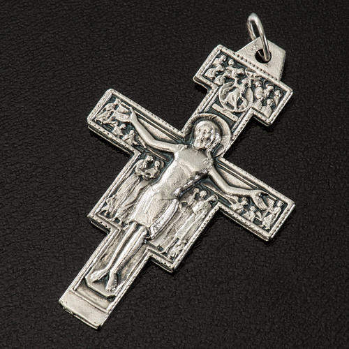 Saint Damien cross pendant, silver metal 4.2cm 2