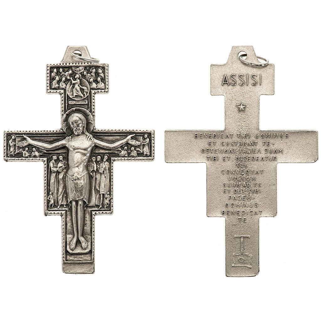 Pendente croce San Damiano metallo argentato h 5,8 cm 4