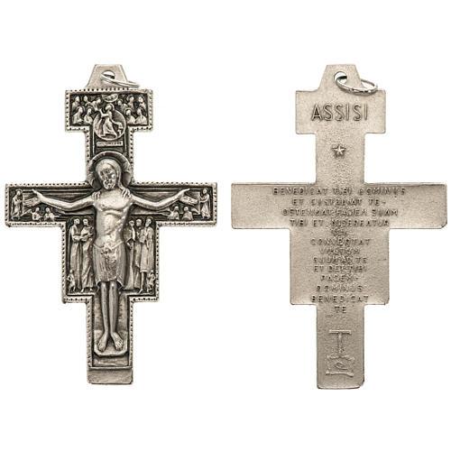 Pendente croce San Damiano metallo argentato h 5,8 cm 1