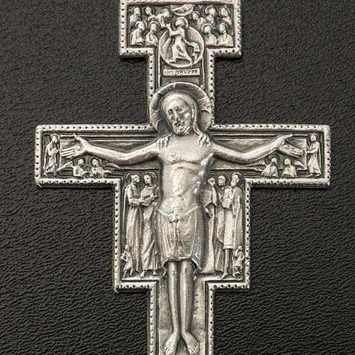 Pendente croce San Damiano metallo argentato h 5,8 cm 2