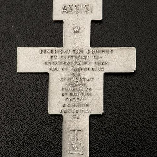 Pendente croce San Damiano metallo argentato h 5,8 cm 3