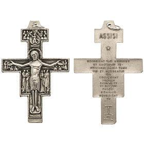 Metal Cross Pendants: Saint Damien cross pendant, silver metal 5.8cm